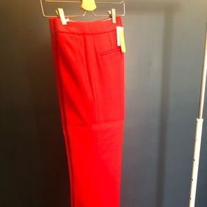 J.Crew Cropped Red Patio Pant Two Way Stretch Wool